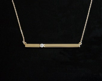 Diamond Bar Necklace 14kt Gold
