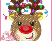 Happy Reindeer Girl with Lights Applique 4x4 5x7 6x10 7x11 svg Machine Embroidery Design Christmas Holiday