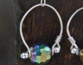 Wrapped Loop Earrings Green Crystal