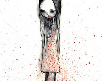 "5x7 fine art print - ""Clarice"" - artwork by Jessica von Braun - Cute and Creepy little girl - Watercolor print"