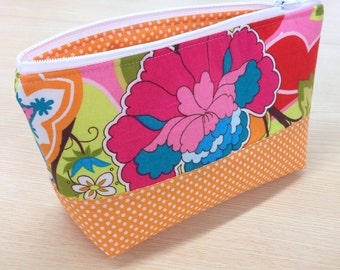 Essential Oil Zipper Pouch Orange and Floral