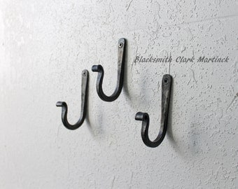 wall hooks, set of 3, iron hooks, blacksmith made, decorative metal hook, black metal hook, Christmas hook