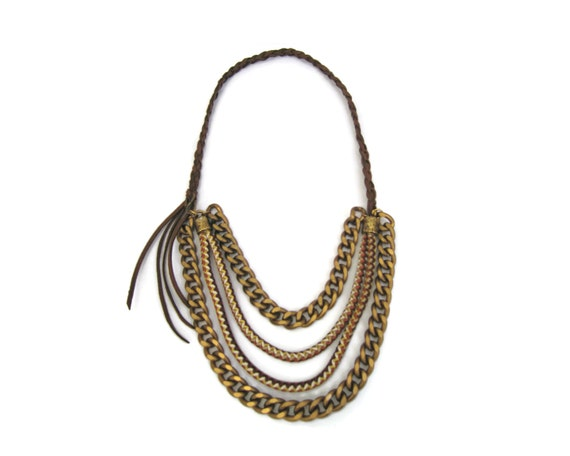 Temptress Chain and Rope Bib Necklace. Statement Jewelry