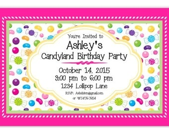 Candy Land Party Invitation, CandyLand Invite, Candy Land Birthday Invitation - custom design for YOU, 1st Birthday Invite, candy birthday