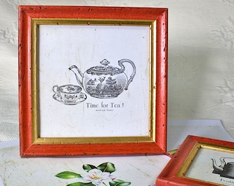 6x6inch square narrow Red and Gold frame