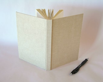Address book large  - European natural linen cover - 6x8.5 in 15x22cm - Ready to ship