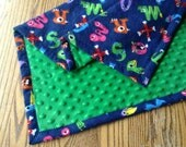 """SALE Minky and Flannel Baby Blanket 30""""x36"""" Navy Flannel With Monster Alphabet, Bright Green Minky"""