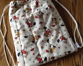 Quilted Backpack for Toddler Drawstring Closure, Boy or Girl