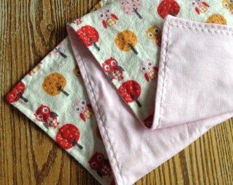 Large Flannel and Knit Swaddler, Receiving Blanket for Baby Girl 35x35 inches, Owl,