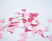 Valentine Red, White and Pink Die Cuts Hand Punched, Mini Hearts Accent Confetti, Birthday, Wedding, Valentine Confetti, Paper Embellishment