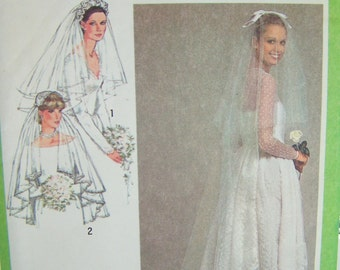 80's Simplicity 9420 Sewing Pattern SALE, Traditional Bridal Fashion, Veils and Headpieces, Vintage Wedding Accessories, Retro Bride UNCUT