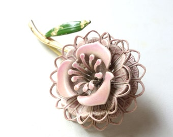 Vintage shabby chic flower hair pin with rose, green enamel