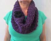 Beautiful Soft Thick Wide Crochet Deep Eggplant Cowl Neckwarmer With Detachable Black Flower