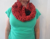 Beautiful Soft Wide And Thick Dark Red Burgundy Crochet Cowl With Delicate Little Sequence With Detachable Black Flower