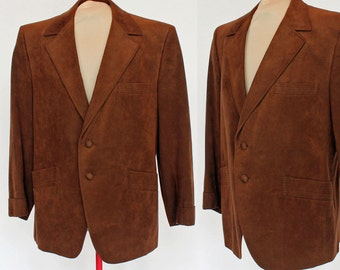 70's Brown Suede Sport Coat / Straus / Size 41S / 41 Short