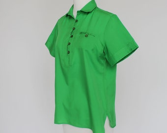 SALE - 70's Short Sleeve Blouse / Bright Green / Polyester / Small