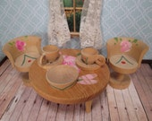 Vintage Wooden Dollhouse Furniture - Dining Table, Two Chairs and Dishes - Hand Painted