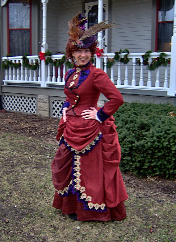 1800s victorian dress 1880s bustle gown rust purple gold for Old west wedding dresses