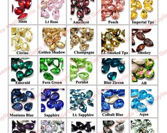 18x13mm Pear Rhinestone Crystal Tear Drop Faceted Pointed Back Foiled Backing -Pick Colors -4pcs