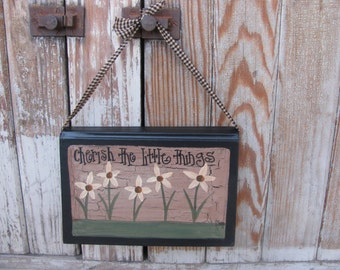 Primitive Country Cottage Chic Wild Flower Daisies Hanging Hand Painted Vintage Book GCC1334