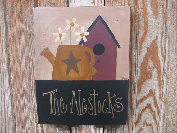 Primitive Watering Can with Birdhouse Hand Painted Personalized Wooden Sign GCC3188
