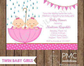 Custom Printed Twin Girl Baby Shower Invitations - 1.00 each with envelope