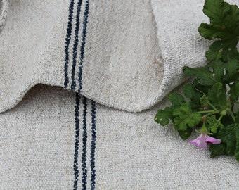 Nr. 203: antique handloomed DARKEST INDIGO primitive grain sack for pillows cushions runners 21.65inches wide