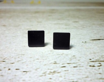 Black Square Stud Earrings, Dainty Earrings