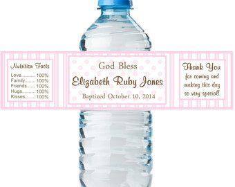 20 Personalized Girls Baptism Water Bottle Labels