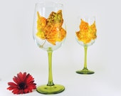 Fall hand painted wine glasses - Set of 2 large wine glasses - Autumn Leaves collection