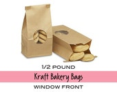 10 Gusseted Window Front KRAFT Bakery Bags or Coffee Bags with Tab Lock Tin Ties . 1/2 lb