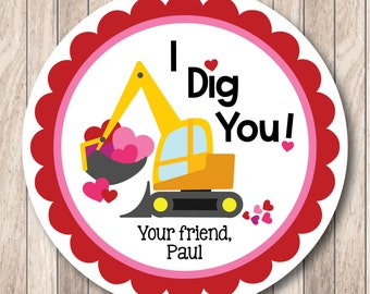 PRINTABLE . Personalized Valentine I Dig You Construction Tags