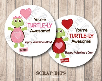 Instant Download . Printable Valentine Turtle Tags