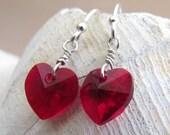 Ruby Red Swarovski Crystal Heart Earrings, Handmade by Harleypaws, SRAJD