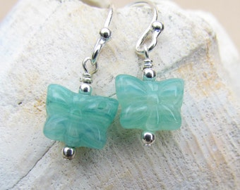 Mini Aqua Blue Butterfly Earrings, Handcrafted by Harleypaws, SRAJD