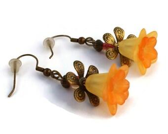 Orange Flower Earrings, Orange Lily Lucite Flower Earrings with Antique Bronze Findings
