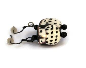 Black Owl Earrings, Black Ceramic Beaded Owl Earrings