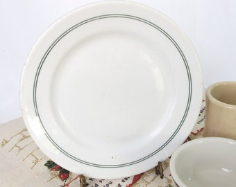 Buffalo 1924 Plate Green Stripe Vintage Restaurant Ware Salad Dessert Bread Butter Cafe Diner China 1920s Art Deco Era Collectible