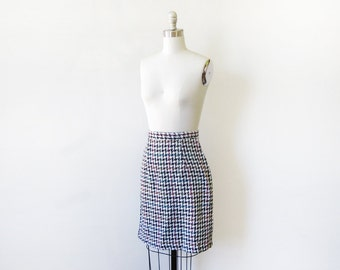 houndstooth skirt, vintage 80s houndstooth pencil skirt, rainbow houndstooth skirt