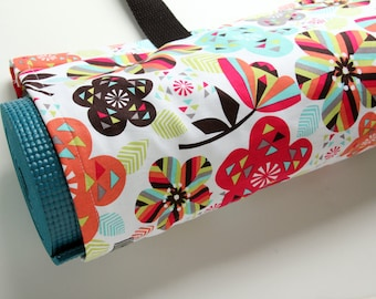 Yoga Bag, Pilates Mat Bag, Yoga Mat Carrier, Womens Yoga Bag, Colorful, Flowers
