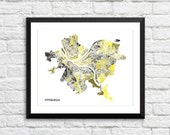 Pittsburgh PA Art Map Print.  Color Options and Size Options Available.  Map of Pittsburgh.