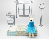 Easter Bunny,Garden Pals, Bunnies, Hand-Stitched in Wool Felt,Blue, turquoise, Little White Rabbit, Miniature Felted Animal,  Gift For Girl