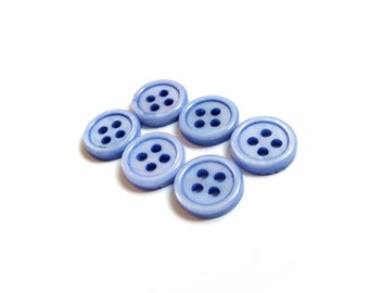 Mother of Pearl Shell Buttons 10mm - set of 6 eco friendly blue buttons  (BN656B)