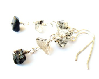 Wire Wrapped Sterling Silver Earrings with Tourmalinated Quartz Stone Chip Earrings Inexpensive Black and White Style