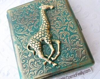 Large Green Verdigris Giraffe Cigarette Case Extra Big Antiqued Bronze Gold Metal Wallet Victorian Steampunk Safari Animal Vintage Inspired