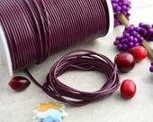 Eggplant Purple: 2mm Round Leather Cord, Genuine Round Leather,  Indian Leather, Supple Leather, Leather Cording / Choose your length