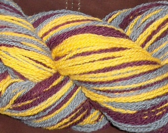 Self Striping Wool yarn. Handspun and Hand Dyed.