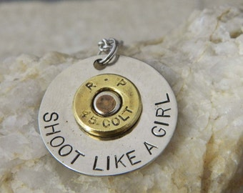Shoot Like a Girl Colt 45 Riveted Bullet Necklace