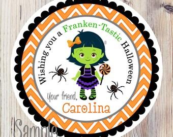 Halloween Stickers, Girl Frankenstein Stickers, Halloween Favor Stickers, Halloween Gift Tags -Set of 12