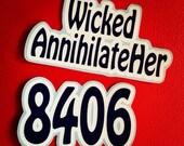 ON SALE NOW!! Custom Two Color Name and Number Roller Derby Helmet Vinyl Sticker / Vinyl Decal